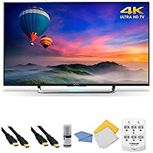 Sony XBR-49X830C - 49-Inch 4K Ultra HD Smart Android LED HDTV + Hookup Kit - Includes TV, HDMI Cable 6', 6 Outlet Wall Tap Surge Protector with Dual 2.1A USB Ports, Cleaning Cloth and Cleaning Kit