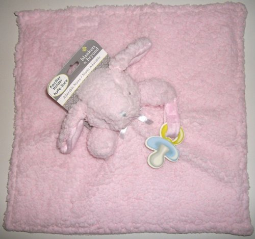 Blankets and Beyond Baby Girls Pink Fuzzy and Soft Nunu w/ Pacifier Holder - 1
