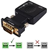 FineSource VGA Male To HDMI Female 1080P VGA To HDMI Converter Adapter Box Audio Port VGA Extension Cable Mini...
