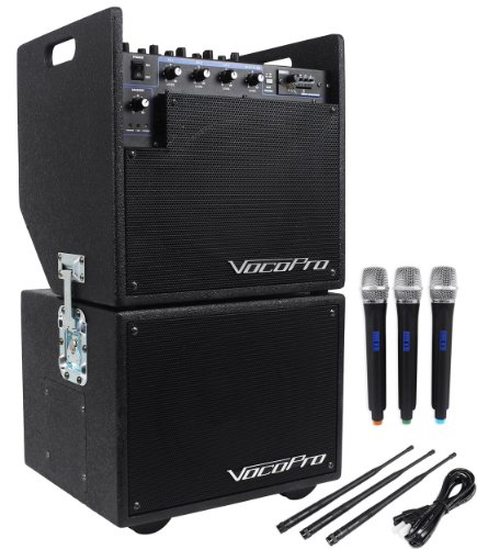 Vocopro Mobile Man 2 Battery Powered Portable Pa Audio System And Subwoofer High Powered Amplifier For Big Sounds Even Outdoors, With 3 Wireless Microphones,Sd Card Recorder, Battery Powered For Portability, And Multiple Inputs