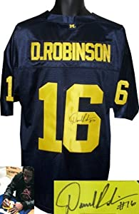 Denard Robinson signed Michigan Wolverines Blue Adidas Jersey by Athlon+Sports+Collectibles