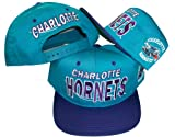 Charlotte Hornets Vintage Wordmark Two Tone Plastic Snapback Adjustable Snap Back Hat / Cap