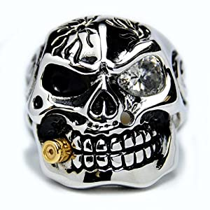 Casted Stainless Steel Skull Ring with Cubic Zirconia & Bullet