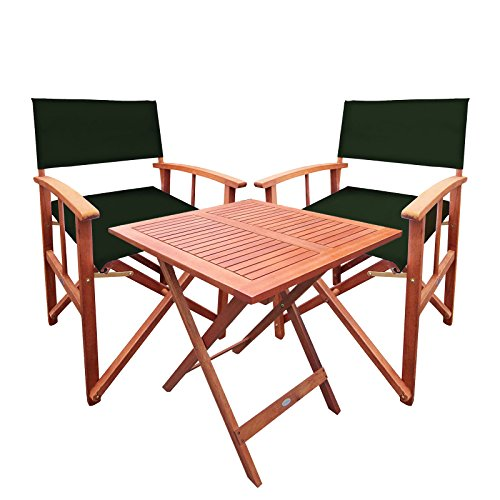 Bentley Garden Balau Wooden Table With Pair Of Directors Chairs - Green (More Colours Available)
