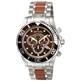 Invicta Mens 0164 Pro Diver Collection Chronograph Wood and Stainless Steel Watch