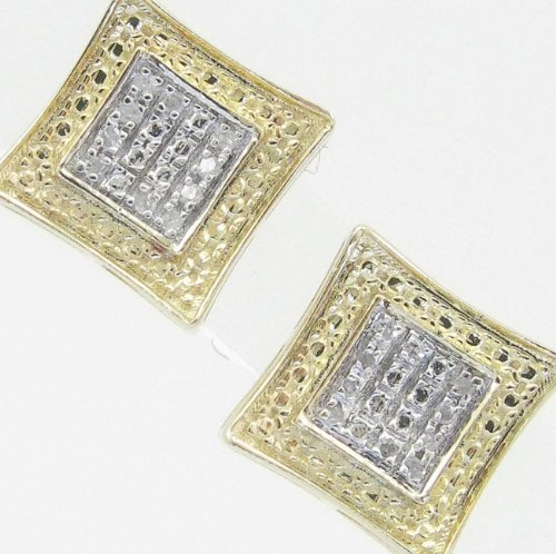 Mens 925 Sterling Silver earrings fancy stud hoops huggie ball fashion dangle canary and white small squared pave earrings