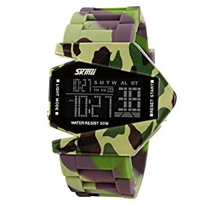 Unique Military Stealth Fighter Sport Digital LED Watch for Men and Women(green)