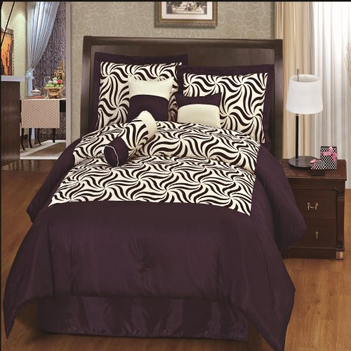 Chic Home Zebra Flock Design 7-Piece Comforter Set, Queen, Purple front-109014