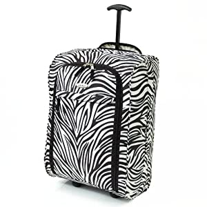 Karabar Super Lightweight Cabin Approved Luggage Bag 55 x 35 x 20 cm, 40 Litres, 1.5 kg, 3 Years Warranty! (1 Piece, Zebra Black) by Karabar