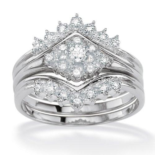 PalmBeach Jewelry Platinum over Sterling Silver Round Diamond Three-Piece Wedding Ring Set