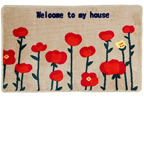 KANARIA 玄関 マット 屋内 室内 おしゃれ 滑り止め 付 / 明るい 花 柄 / ベージュ × 赤 40×60cm (赤)