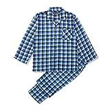 【ノーブランド品】 長袖 メンズ 秋 冬 向け フリース 前開きパジャマ ブロックチェック柄 Mサイズ ブルー