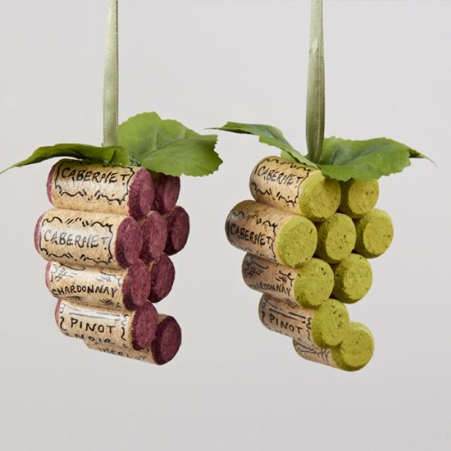 Kurt Adler Cork Grape Bunch Christmas Tree Ornaments (Set of 2)