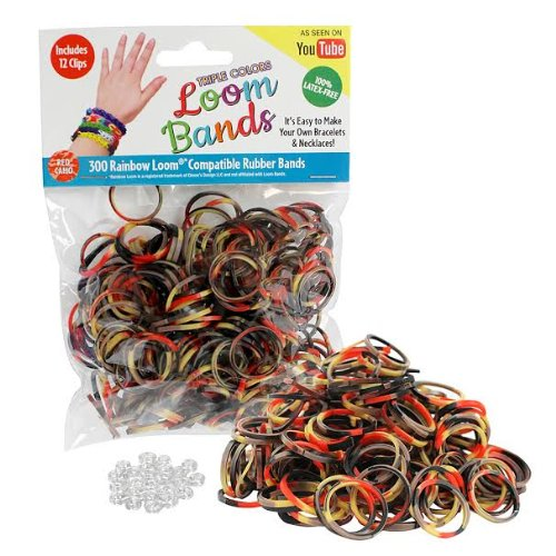 Loom Rubber Bands - 300 Pc Triple Color Rubber Band Refill Pack (Red Camo) - 100% Latex Free and Compatible with All Looms - 1