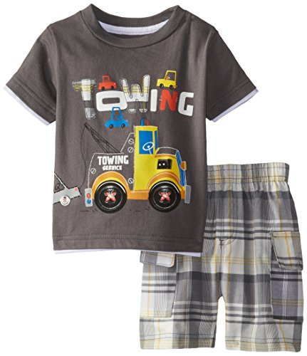 Kids Headquarters Baby Boys' Tee with Plaid Shorts Towing Truck, Multi, 12 Months