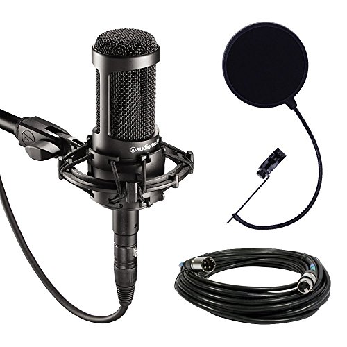 Audio-Technica AT2035 Large Diaphragm Studio Condenser Microphone Bundle with Shock Mount, Pop Filter, and XLR Cable (Audio Technica Mic Condenser compare prices)