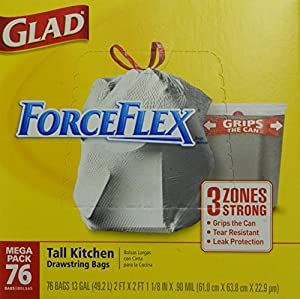 Glad ForceFlex Tall Kitchen Drawstring Trash Bags, 76 Count