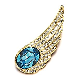 Pugster 22K Golden Plated Wing Aquamarine Blue Swarovski Crystal Diamond Accent Brooches Pins