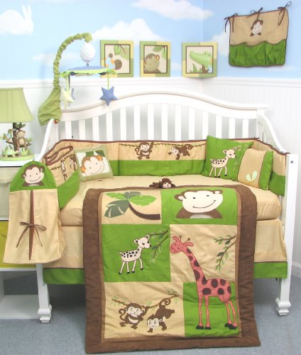 SoHo Monkey Savannah Crib Nursery Bedding SET 10pc