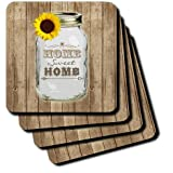 3dRose Cst_128555_2 Country Rustic Mason Jar With Sunflower Home Sweet Home Soft Coasters, Set Of 8