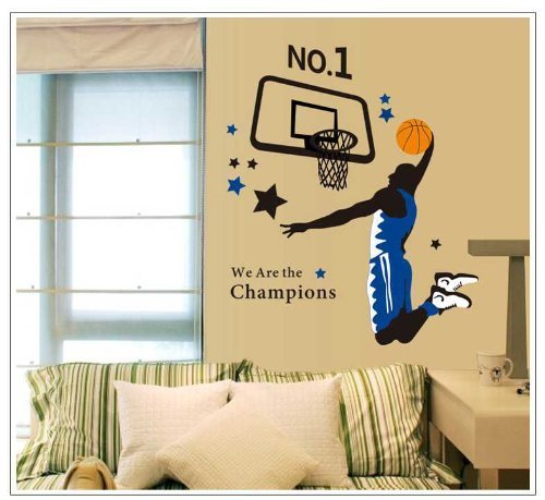 Amaonm® Giant Jumping Basketball Superstar -Lettering I Am a Champion Peel & Stick Wall Decals Slam Dunk Basketball Players Wall Stickers DIY Mural Art for Kids Boys Room Bedroom Classroom