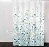 DKNY FALLING PETALS Cotton Fabric Shower Curtain Blue, Green, Aqua Floral Pattern on White