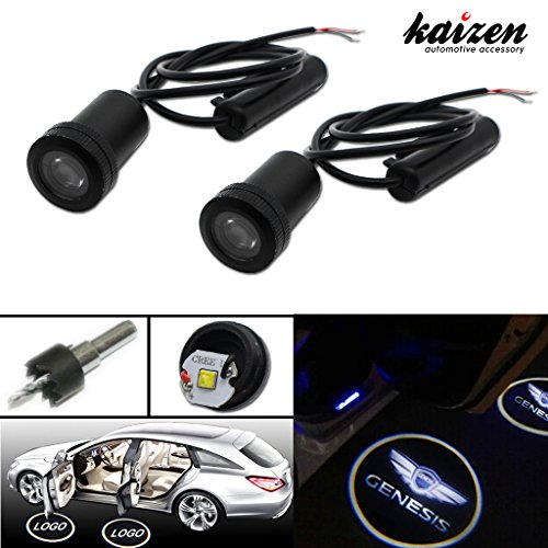 Kaizen 2 Pcs Super Bright LED Laser Ghost Shadow CREE Door Step Courtesy Welcome Light Lamps CAN-bus No Error Drill In Package Common Use Series Logo Hyundai GENESIS (No Drill Spoiler compare prices)