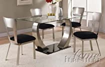 Hot Sale 5pc Dining Table and Chairs with Metal Base in Chrome Finish