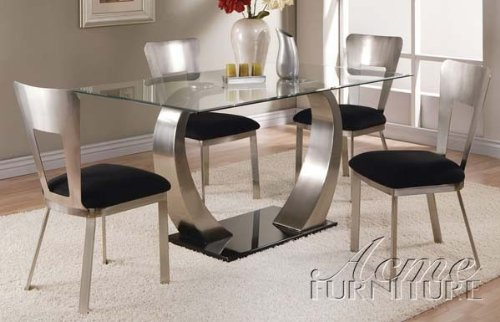 5Pc Dining Table And Chairs With Metal Base In Chrome Finish