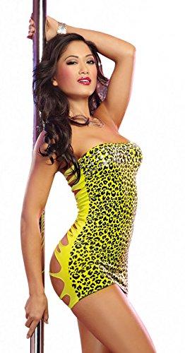 Dreamgirl Sexy nahtloses GoGo Dancewear Kleid in zerrissenem Look mit exotischem Leopard-Print und passendem G-string