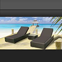 Luxxella Outdoor Patio Wicker Furniture 3 Pc Chaise Lounge Set DARK GREY from Luxxella