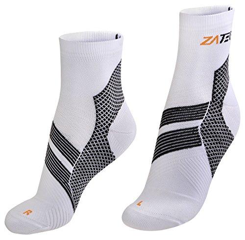 ZaTech Plantar Fasciitis Sock, Compression Socks. (White/Black/Orange, Small)