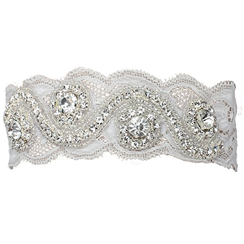 Fashion Plaza Wedding Accessories Bridal Garter White Lace with Rhinestone (X-Small/ 16 Inches, White)