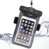 AUKEY Universal Waterproof Case Bag Pouch with Armband, Attach to The Compass Fit for Outdoor Activities, Appropriate for iPhone 6, 6 Plus, 6S, 6S Plus and Other Phones Below 5.5 inches (PC-T6)
