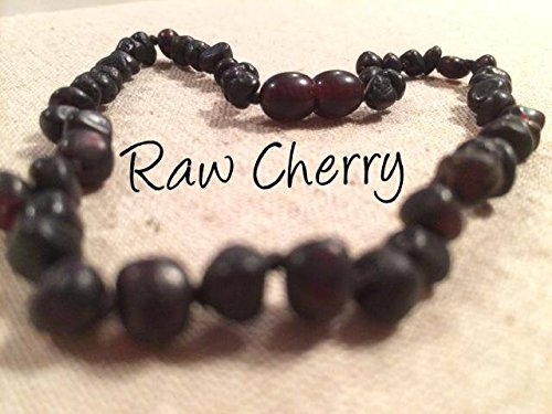 Baltic Amber Teething Necklace For Babies And Toddlers Raw Cherry With Safety Clasp Certified Authentic. Anti-Inflammatory, Reduction Of Drooling, Red Cheeks, Teething Pain. Highest Quality front-372441