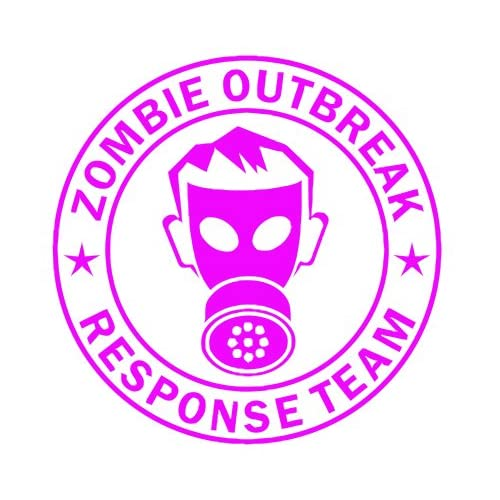 Zombie Outbreak Response Team IKON GAS MASK Design   5 HOT PINK   Vinyl Decal Window Sticker by Ikon Sign