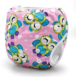 Carters All in One Reusable Diaper Waterproof Reusable Swim Diaper One Size Nappy 0-24 months (Pink Owl)