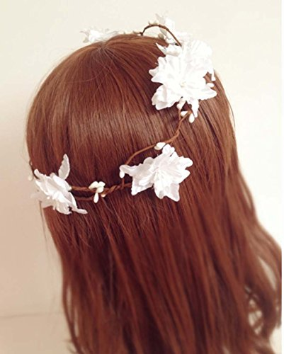 Artificial Berry Rattan Flower Headband for Beach Wedding Woodland Fairy Floral Head Pieces Rustic Hair Garland Wreath Crown Headdress Headpiece Headwear White