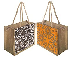 Foonty tote women pack of two small jute lunch bags(FFFWB5008)