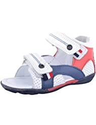 Mas & SaM Boys' Perforated White Leather With Red & Blue Leather Sandals & Floaters