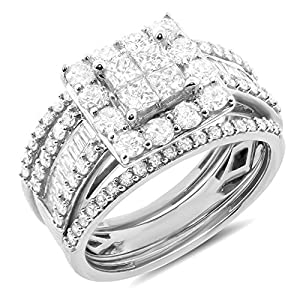2.00 ctw 10k Gold Princess Round Baguette Diamond Halo Bridal Set Engagement Ring Matching Wedding Band - White-gold, Size 7