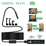 Wireless Endoscope, MWAY HD 1200P Wifi Borescope inspection camera IP68 Waterproof Snake Camera with 8 Adjustable LED Lights for iPhone, Samsung, Tablet, Mac, PC 16.4 Foot/5 Meters