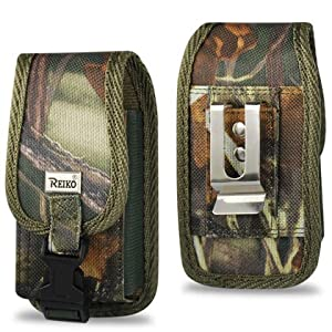Rugged Heavy Duty Nylon Canvas Protective Cell Phone Case Pouch (with metal belt clip Belt Loop and Snap Closure) for IPHONE 3G/IPOD/Iphone 4/ 4S/ Samsung Galaxy Prevail / Huawei Ascend 2/ LG Optimus S/U/V/ Kyocera Sanyo Zio/ LG Saber/ (Camouflage Green)