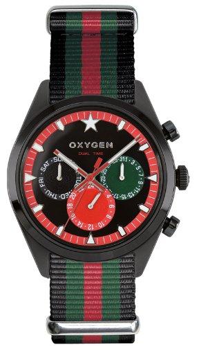 Oxygen - EX-SDT-ROM-40-BLGNRE - Dual Time - Montre Homme - Quartz Analogique - Cadran Multicolore - Bracelet Nylon Multicolore