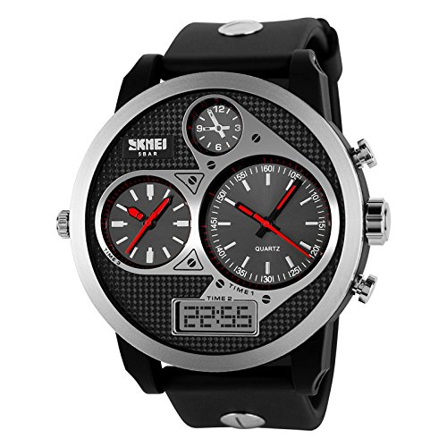 Skmei Watches Big Promotion (Buy One Watch Get One Free Total 2) !! Men Women Waterproof Business Quartz Wristwatch With Pu Plastic Belt And Steel Bezel Case Calendar (Black Red)