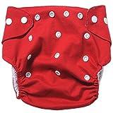 badynoo bdn01ajustable, lavable, impermeable de bebé de algodón Pañales de tela pañales de tela de malla/ Plain Red Talla:mediano