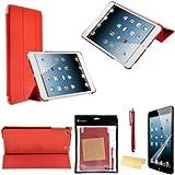 Foxnovo 4-en-1 ultra-fin Smart PU cas Stand Kit de caches pour iPad mini 2 (mini iPad avec écran Retina) Apple iPad mini (rouge)