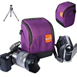 First2savvv high quality anti-shock purple Nylon camcorder case bag for Toshiba CAMILEO X400 CAMILEO X200 CAMILEO X150 CAMILEO Z100 with mini tripod