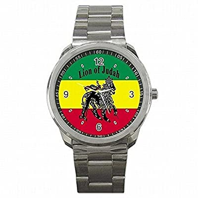 Daguys custom Rasta Jamaica Lion Jamaican Rare Metal Sports Watch New Wrist Watch unisex watch
