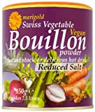 Marigold Swiss Vegetable Vegan Bouillon Powder Reduced Salt 150 g (Pack of 6)